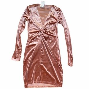 NWT DIVIDED Light Pink Velvet Long Sleeve Dress